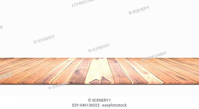 Wooden wall isolated on white background. For advertising