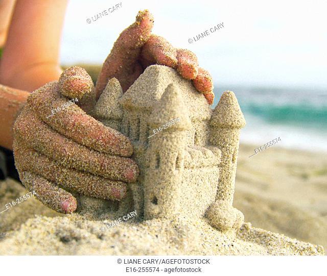 making a sand castle