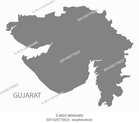 Gujarat India Map grey