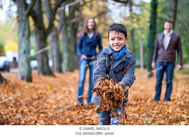 Young boy and parents collecting autumn leaves in park