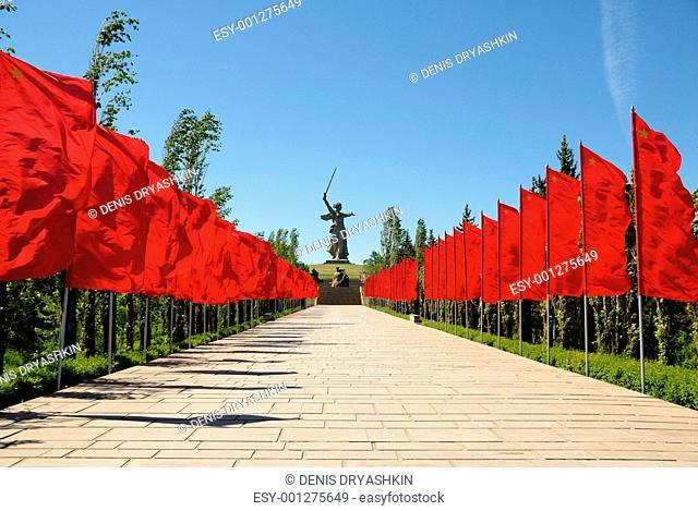World War II Memorial obelisk on mound Mamayev Kurgan Russia Vol