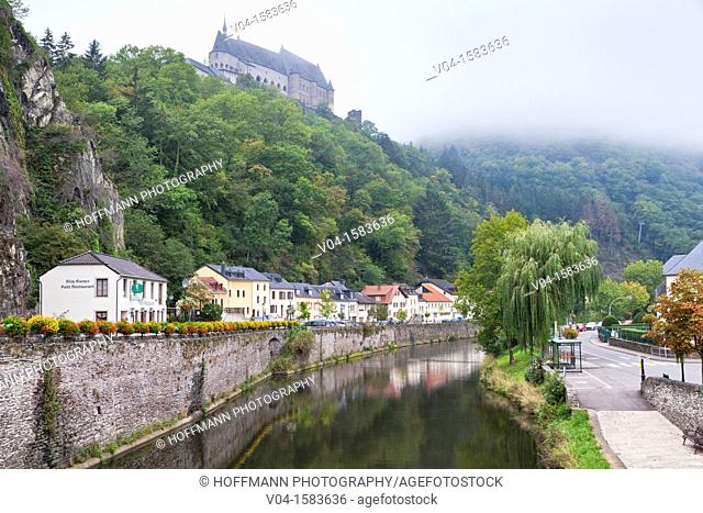 The picturesque castle of Vianden with the Our River and the town of Vianden, Luxemburg, Europe
