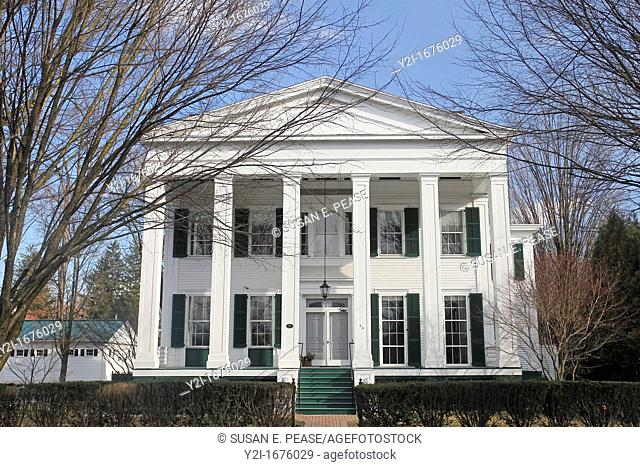 This Greek Revival style home, built in 1832, is one of Saratoga Spring's many Victorian era homes  Saratoga Springs, New York, United States
