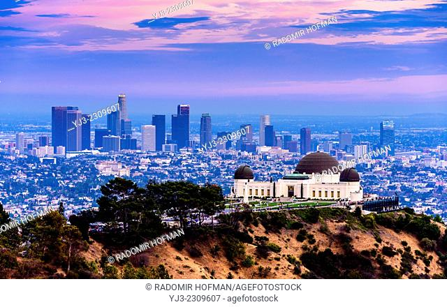 Los Angeles skyline with Griffith observatory at twilight