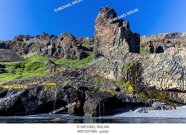 Amazing examples of columnar basalt on the southern coast of Disko Island, Kuannersuit, Greenland, Polar Regions