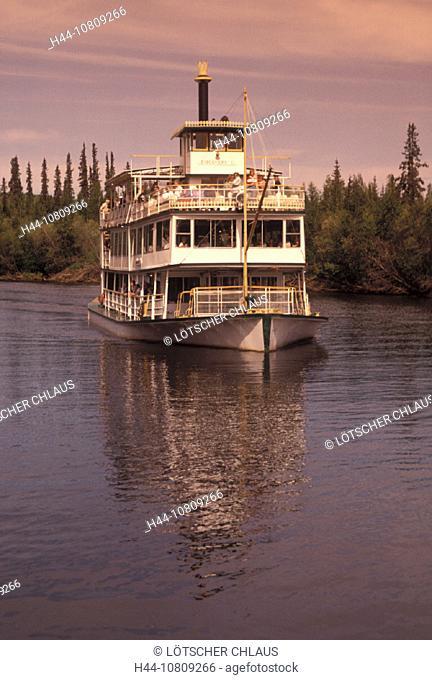 Alaska, Boat, Chena River, Discovery, Fairbanks, Paddlewheeler, River, tour, Tourism, USA, America, United States, N