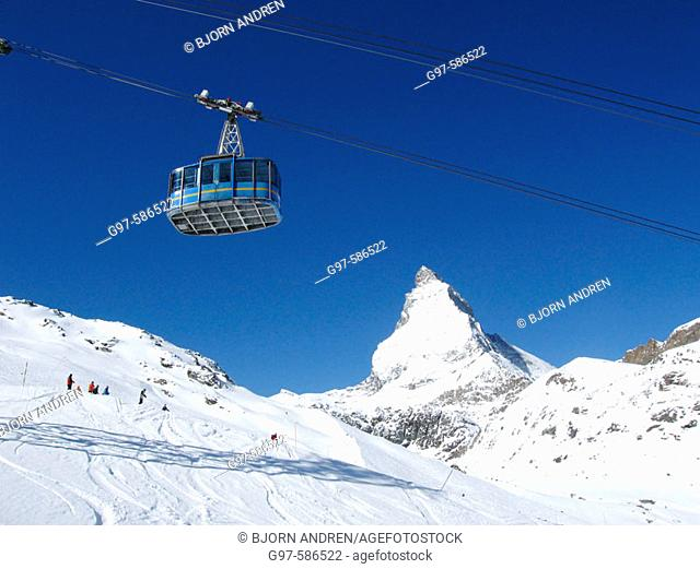 Skilift at Zermatt. Matterhorn. Switzerland