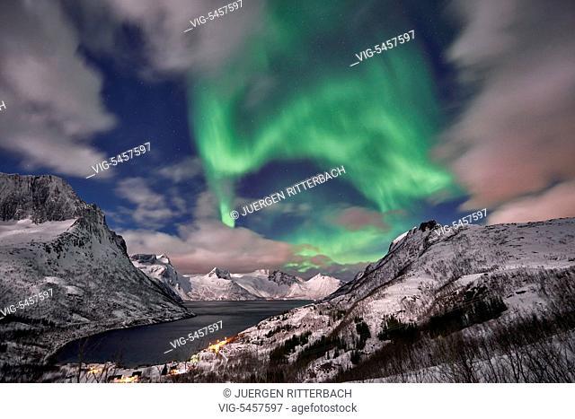 NORWAY, SENJAHOPEN, 19.02.2016, Aurora Borealis or northern lights over winter landscape in fjord of Mefjorden, Senja, Troms, Norway, Europe - Senjahopen, Troms