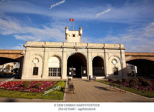 Puerta de Tierra 'The Land Gate' -Monument and city walls in Plaza de la Constitución, Cádiz City , Andalusia, Spain, Europe