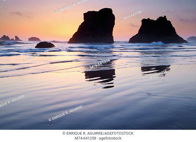Sea Stacks at sunset at Bandon Beach, Oregon, USA