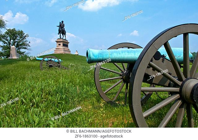 Gettysburg Pennsylvania famous Gettysburg Battlefield from Civil War with cannons and statue of General Winfield Scott Hancock on horse