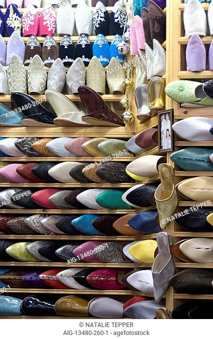 Shoes and slippers for sale in the souk, Fes, Morocco