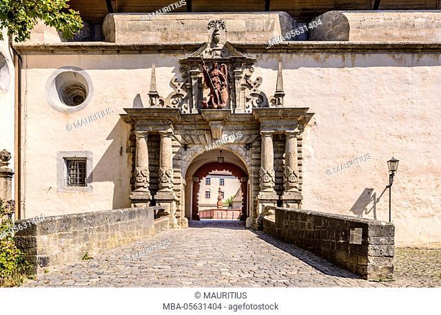 Germany, Bavaria, Lower Franconia, Mainfranken, Würzburg, fortress Marienberg, main portal