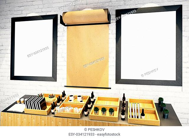 Blank picture frames and parchment roll on brick wall in cafe interior. Mock up, 3D Render