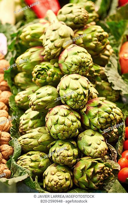 artichokes, Mercat St Josep, La Boqueria market, Las Ramblas. Barcelona. Catalonia. Spain