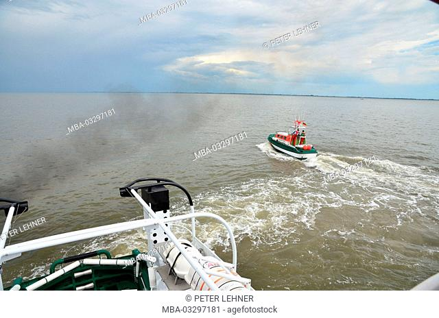 Germany, the North Sea, rescue lifeboat, Ship's boat, water landing, on deck