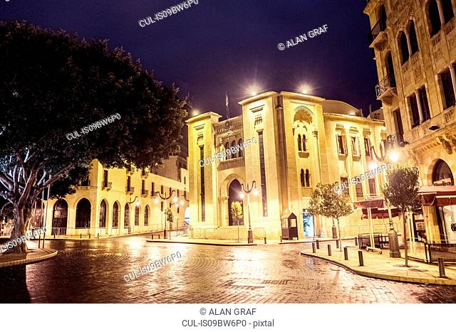 Lebanese parliament building in Nejmeh Square at night, Beirut, Lebanon