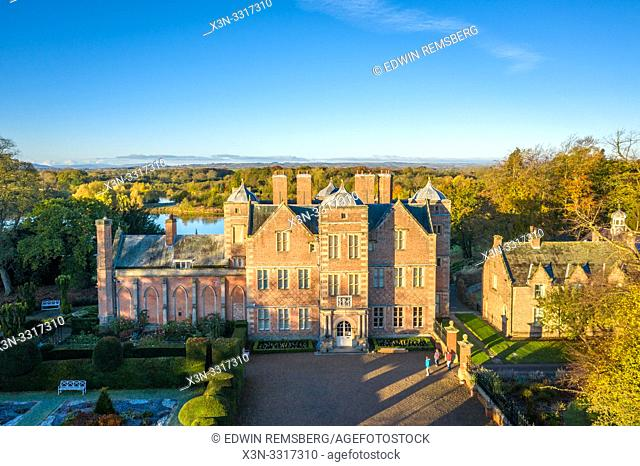 A sky view of Kiplin Hall in Yorkshire, UK