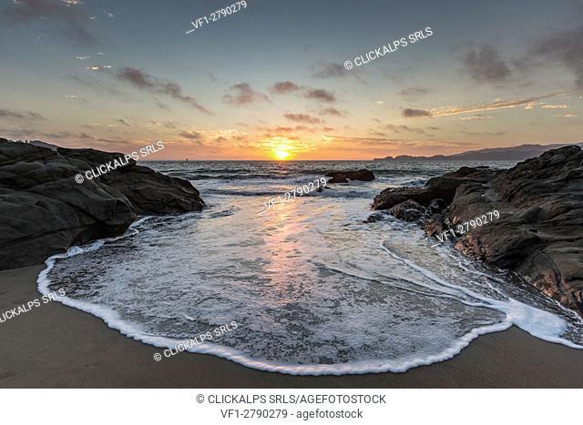 Sunset shot from Baker Beach. San Francisco, Marin County, California, USA
