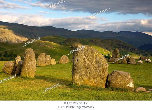 England, Cumbria, Keswick, Evening light over Castlerigg stone circle in Cumbria