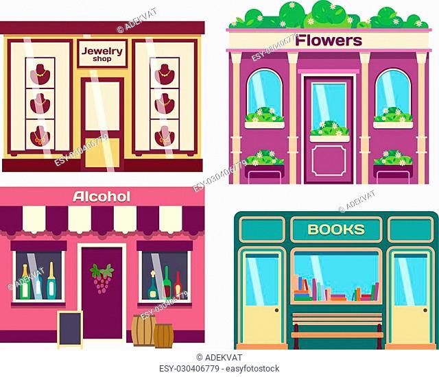 Vector flat design shop facade isolated. Some shop facade isolated on white background. Bakery, pharmacy, electronics store, ice cream shop, book shop facade
