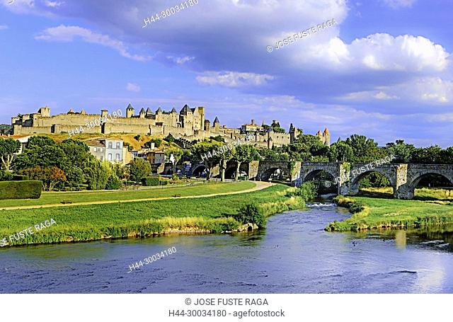 France, Aude region, Carcassonne city, la cite, medieval fortress, W.H.