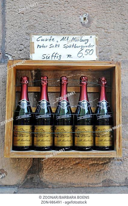 Marburger Sekt, Sektflaschen, Altstadt, Marburg, Hessen