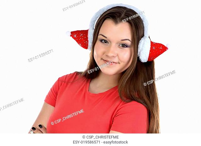 Image of teenage girl with xmas headphones