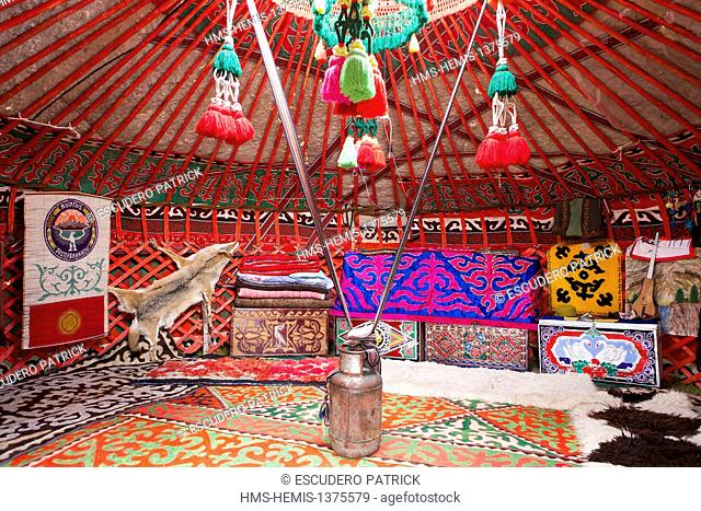Kyrgyzstan, Naryn Province, interior of a yurt at Song-Kol lake state zoological reserve