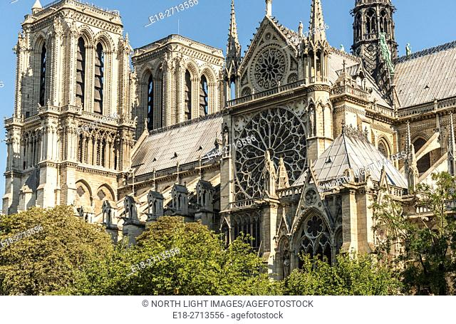 Side view of the Notre Dame Cathedral viewed from the River Seine, Paris, France