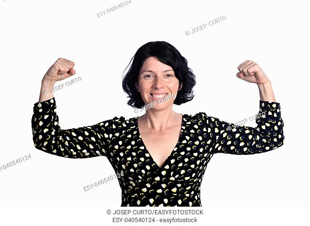 bicep of woman on white backgroung