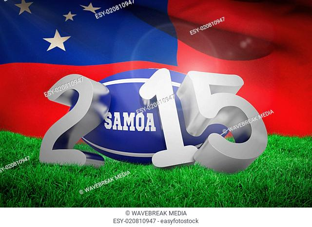 Composite image of samoa rugby 2015 message