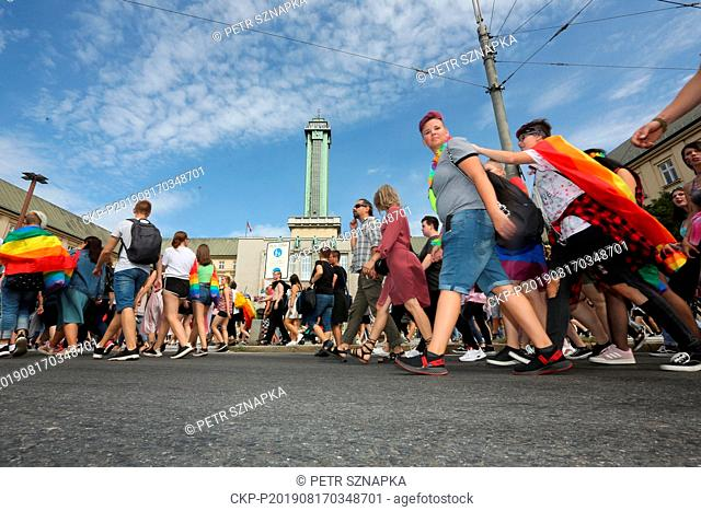 More than 500 people, most of whom are very young, took part in the pride parade for the rights of LGBT+ community, the first ever staged in Ostrava