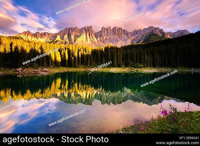 Carezza lake at sunset, Bolzano province, Trentino Alto Adige district, Italy, Europe