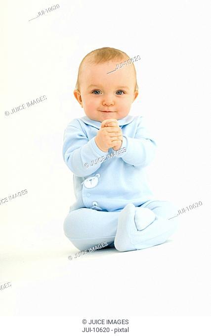 Baby boy 3-6 months, smiling, portrait