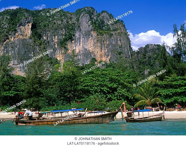 On the coast of the Andaman Sea are many limestone hills which are both on land and in the sea. They are a tourist attraction