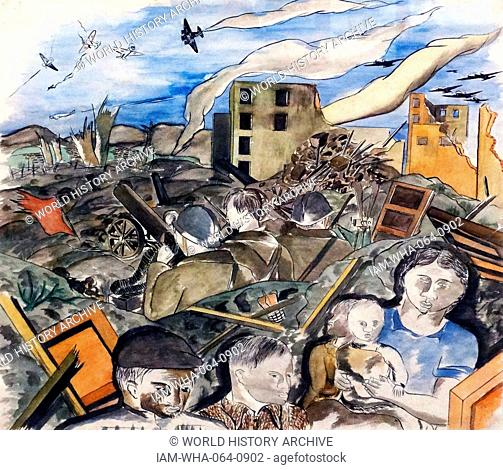 The defence of Madrid' (during the Spanish Civil War) 1937. By Jose Maria Narezo 1922-1994. Pen and ink with gouache on paper
