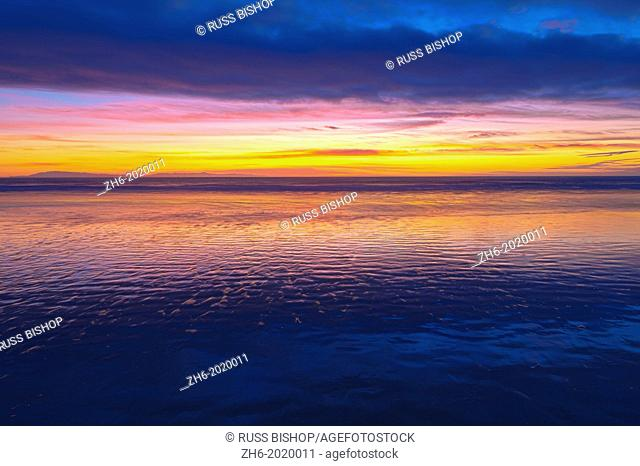 Low tide and sunset over Santa Cruz Island, Channel Islands National Park, Ventura, California USA
