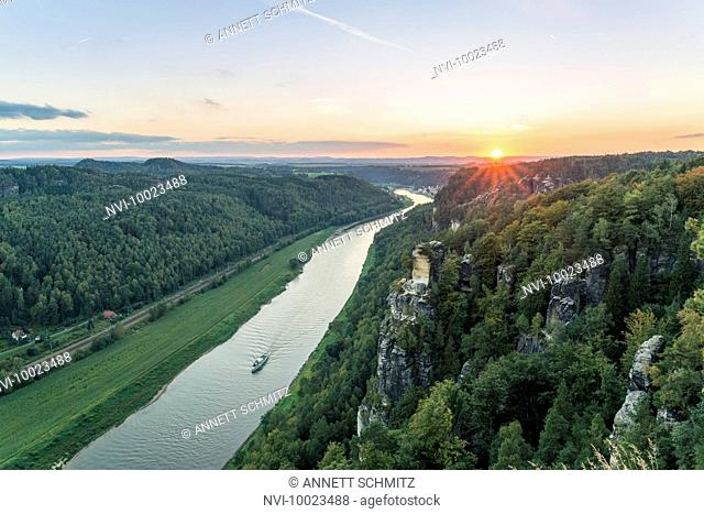 View from the Bastei on the river Elbe, Elbe Sandstone Mountains, Saxony, Germany