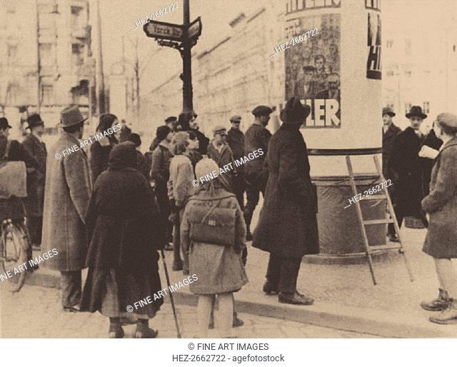 An election poster of the Nazi Party on the streets of Berlin, 1932