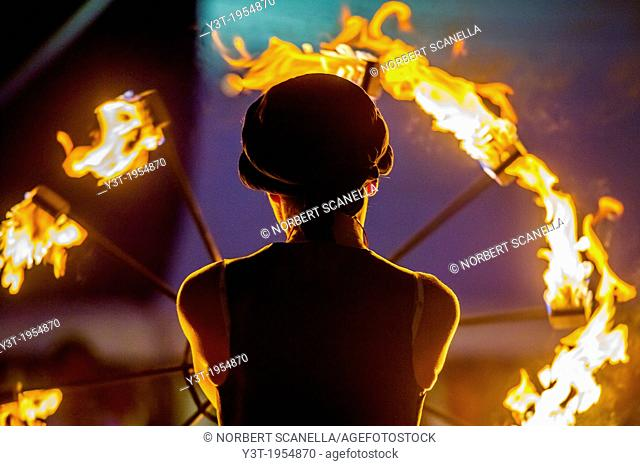 Europe, France, Var, Fayence. Medieval Festival. Performance with a flaming wheel