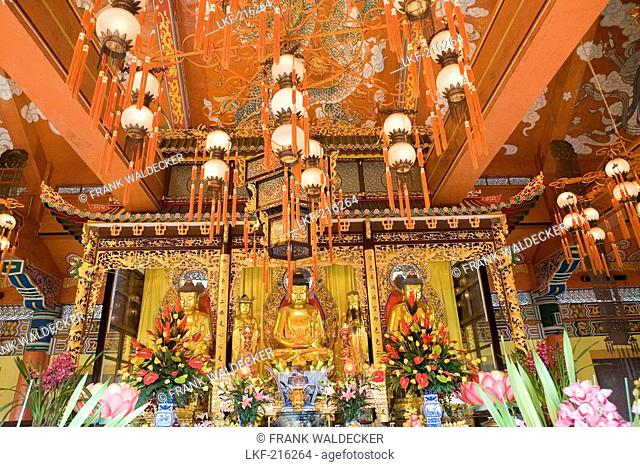 Golden statues at buddhist monastery Po Lin on Lantau Island, Hongkong, China, Asia