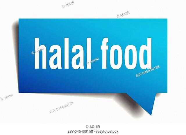 halal food blue 3d square isolated speech bubble