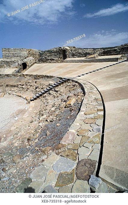 Roman theater, ruins of old roman city of Baelo Claudia, Tarifa. Cadiz province, Andalucia, Spain