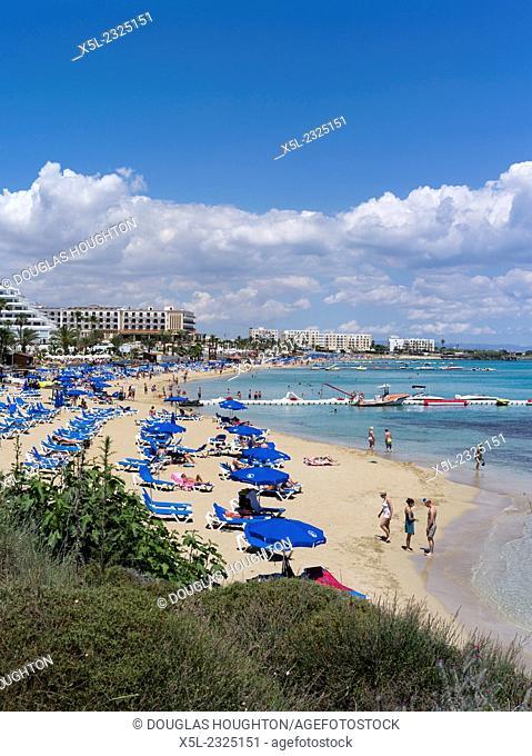 Fig Tree Bay PROTARAS CYPRUS Sunbathers and swimmers sandy beach