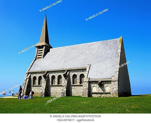 L'Eglise de Notre Dame de la Garde facing Etretat, Le Havre, Seine-Maritime, Normandy, France, Europe