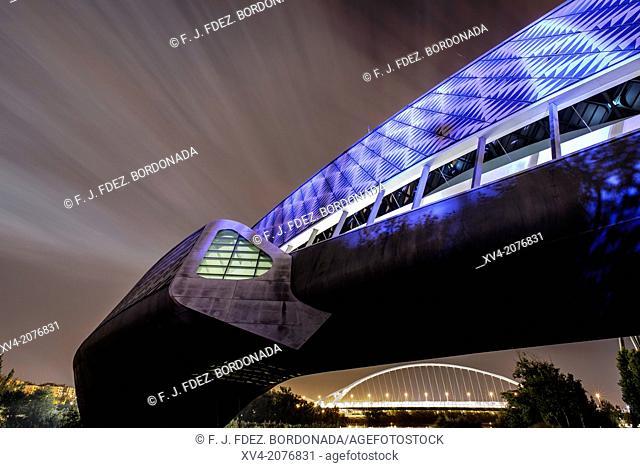 Bridge Pavilion designed by Zaha Hadid in the night in Expozaragoza area, Saragossa, Aragón, Spain