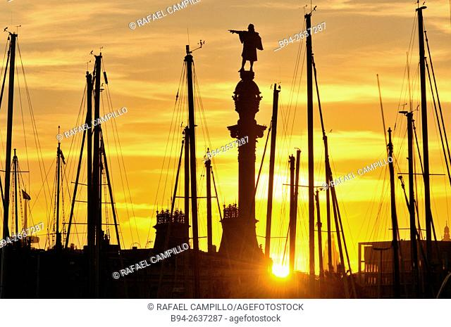 Sunset. Columbus Monument at the lower end of La Rambla. Sculpted by Rafael Atché. Construction began in 1882 and was completed in 1888 in time for the...