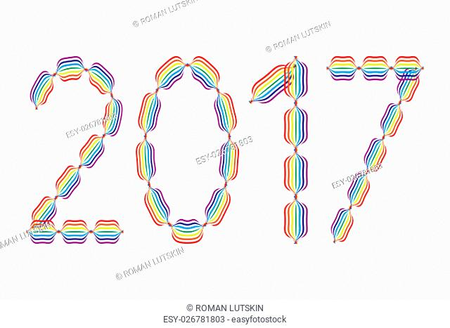 New Year 2017 made in rainbow colors on white background