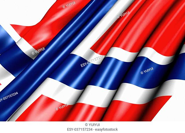 Flag of Norway against white background. Close up